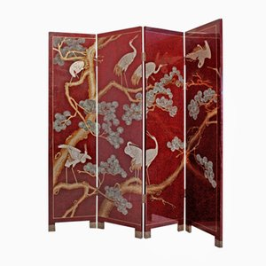 Lacquered Red Screen with Birds, 1980s