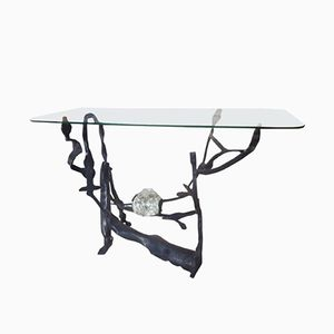 Wrought Iron and Glass Sculptural Console by Salvino Marsura, 1970s