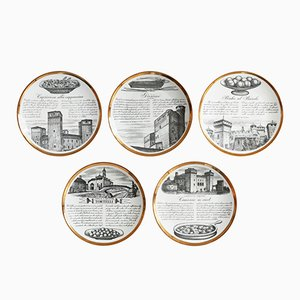 Ricette d'Italia White and Gold Ceramic Plates by Piero Fornasetti, 1960s, Set of 5