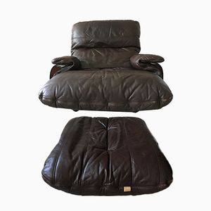 Leather Marsala Lounge Chair and Pouf by Michel Ducaroy for Ligne Roset, 1970s