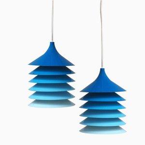 Blaue Duett Hängelampen von Bent Gantzel Boysen für Ikea, 1970er, 2er Set