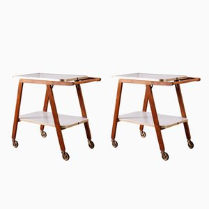 German Beech & Formica Trolleys, 1950s, Set of 2