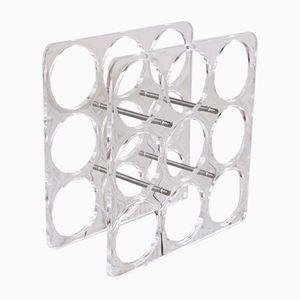 Space Age Plexiglass & Metal Wine Rack, 1970s