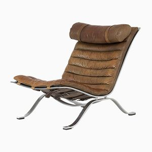 Ari Leather Lounge Chair by Arne Norell, 1960s