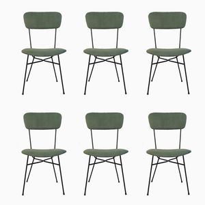 Italian Green Velours Chairs, 1950s, Set of 6