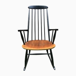 Vintage Black Lacquered Rocking Chair by Ilmari Tapiovaara, 1960s