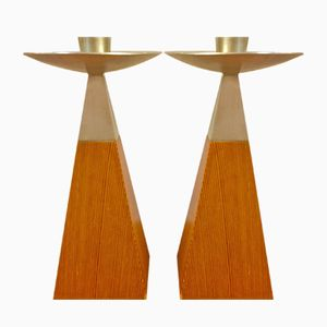 Oregon Pine Candle Sticks by Johnny Mattsson, 1959, Set of 2