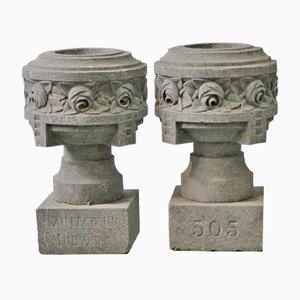 Vasi vintage in granito, set di 2