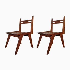 Brutalistische Vintage Stühle aus Holz, 2er Set