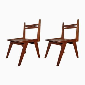 Vintage Brutalist Wooden Chairs, Set of 2