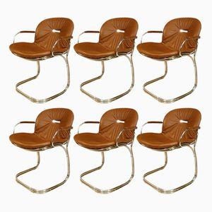 Chaises de Salon Sabrina en Cuir par Gastone Rinaldi pour Rima, 1970s, Set de 6