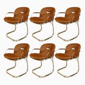 Sabrina Leather Dining Chairs by Gastone Rinaldi for Rima, 1970s, Set of 6