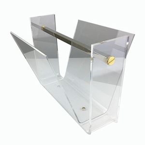 Vintage Thick Lucite and Chromed Steel Magazine Rack, 1970s