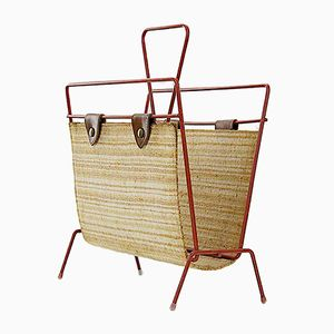 Vintage Straw, Leather, and Painted Metal Magazine Rack, 1950s
