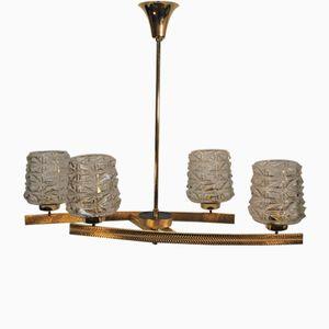 Deckenlampe aus Messing und Opalglas, 1950er