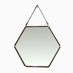 Hexagonal Rosewood Mirror, 1960s
