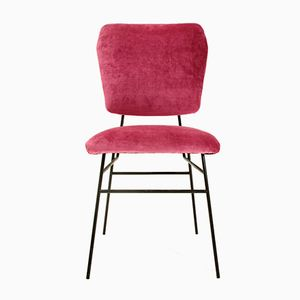 Italienischer Stuhl mit Samtbezug in Pink, 1950er