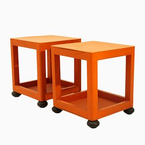 Orange Square Bedside Tables, 1960s, Set of 2