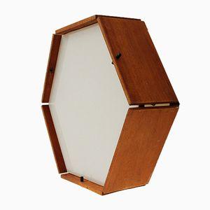 Sechseckige Deckenlampe aus Teak & Plexiglas, 1950er