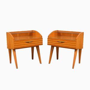 Holz Furnier Nachttische, 1960er, 2er Set
