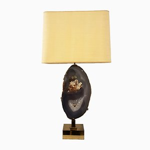 Table Lamp in Gilted Brass and Agate by Willy Daro, 1980s