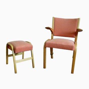 Bow Wood Armchair with Ottoman by Wilhelm Von Bode for Steiner, 1950s