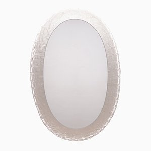 Vintage Iceglass Mirror with Backlighting from Hillebrand