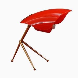 Lampada da tavolo con paralume rosso di Stilnovo, anni '50