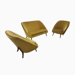 Mid-Century Sofa und Sessel aus Samt, 3er Set