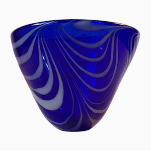 Modernist Blue Spiral Bowl by Torben Jørgensen for Holmegaard, 1980s