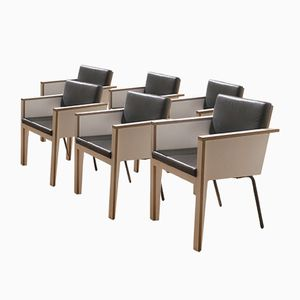 Black Leather & White Laminate Conference Armchairs, 1980s, Set of 6