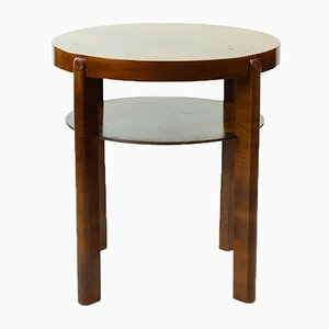 Czechoslovakian Round Side Table by Jindrich Halabala in Walnut Veneer, 1930s