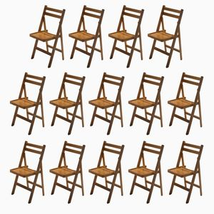 Mid-Century Folding Wooden Chairs, 1960s, Set of 14