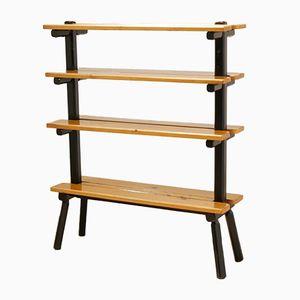 Mid-Century Scandinavian Bicolored Wooden Free Standing Bookshelf