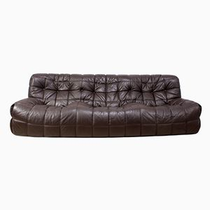 Mid-Century Leather Kashima Sofa by Michel Ducaroy for Ligne Roset