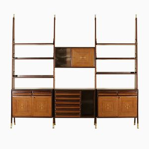 Italienisches Mid-Century Regal aus Palisander Furnier & Messing