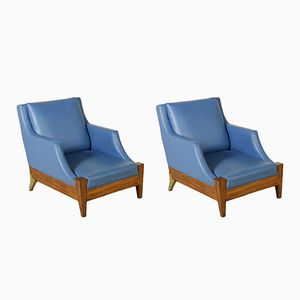Vintage Italian Armchairs in Walnut and Leatherette, Set of 2
