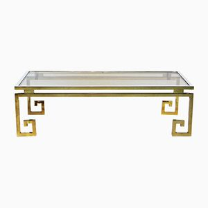 Vintage Gilded Chrome Greek Key Coffee Table