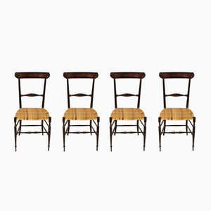 Mid-Century Chiavari Chairs in Lacquered Wood, Set of 4