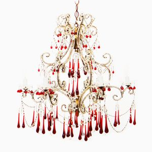 Italian Macaroni Beaded Chandelier with Gilt Wood and Glass Drops