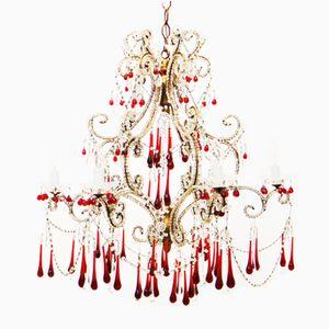 Italienischer Kronleuchter mit Perlenschnüren, Vergoldetem Holz und Glastropfen