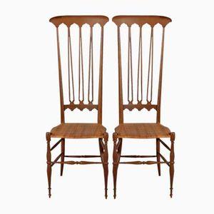 Italienische Mid-Century Chiavari Stühle aus Gebeizter Buche, 2er Set