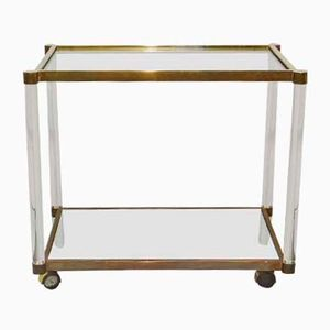 Vintage Brass and Lucite Bar Trolley
