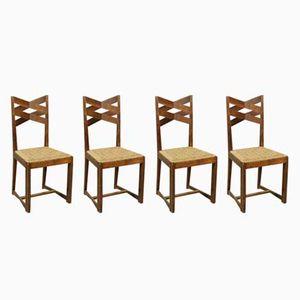 Italian Oak Chairs, 1940s, Set of 4