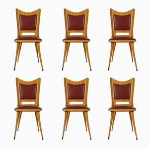 Italian Chairs in Cherry and Skai, 1950s, Set of 6