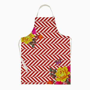 Flowers with Red Stripes Apron by Rana Salam