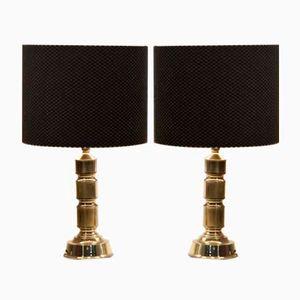 Vintage Messing Tischlampen von Hulsta, 2er Set