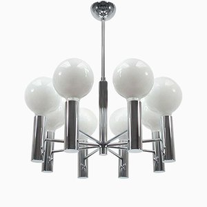 Mid-Century Italian 8-Arm Chrome Chandelier, 1960s