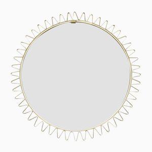 Specchio Mid-Century con cornice in ottone