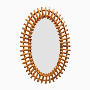 Oval Bamboo Framed Mirror, 1950s